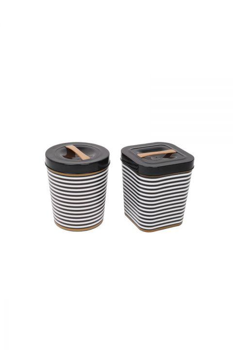 Black Patterned Bucket Set Round - Square