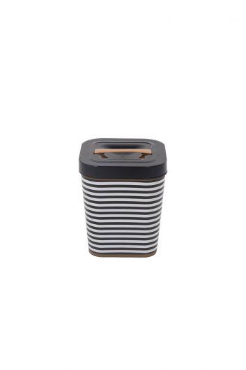 دلو مربع أسود منقوش مع غطاء - Thumbnail