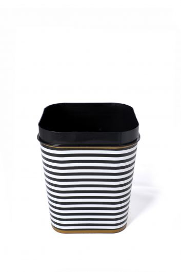 MARKAPIA HOME - Black Patterned Square Bucket With Lid (1)