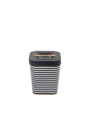 Black Patterned Square Bucket With Lid - Thumbnail