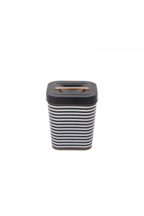 Black Patterned Square Bucket With Lid
