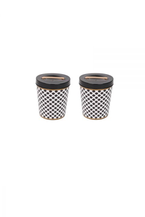 Black Patterned Round Bucket With Lid Set of 2
