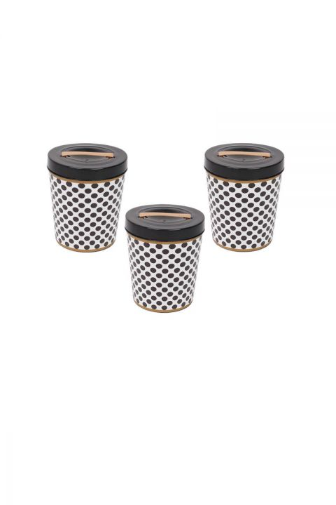 Black Patterned Round Bucket With Lid Set of 3
