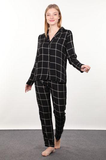 Black Plaid Women's Pajamas Set - Thumbnail