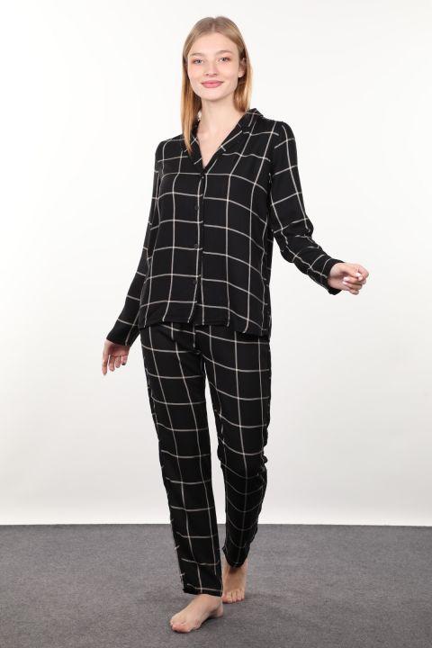 Black Plaid Women's Pajamas Set