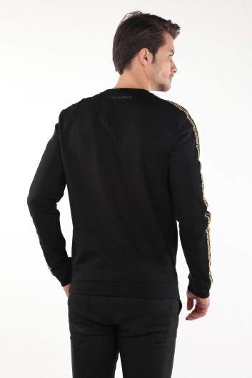 Black Printed Men's Crew Neck Sweatshirt - Thumbnail