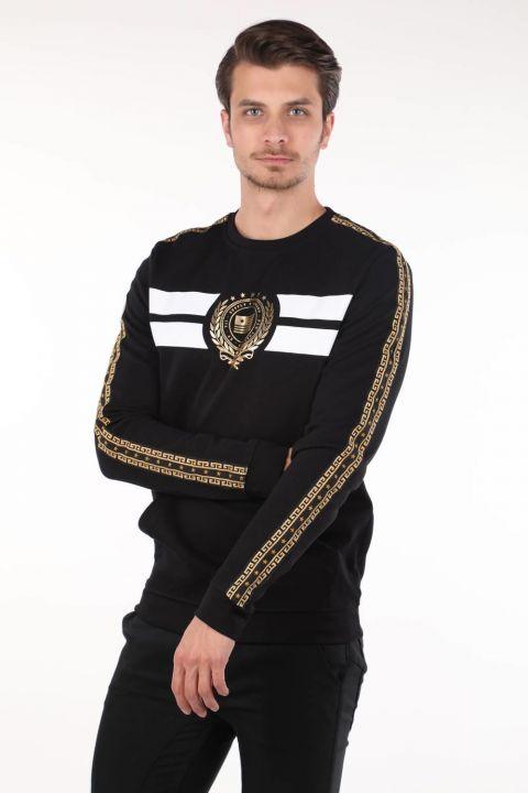 Black Printed Men's Crew Neck Sweatshirt