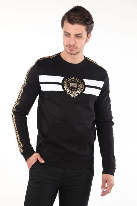 Черный мужской свитшот с круглым вырезом с принтом