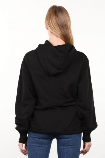Black Printed Oversized Hooded Women's Sweatshirt - Thumbnail