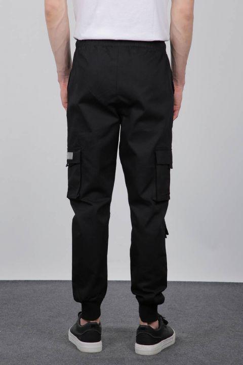 Черные мужские брюки в рубчик с карманами