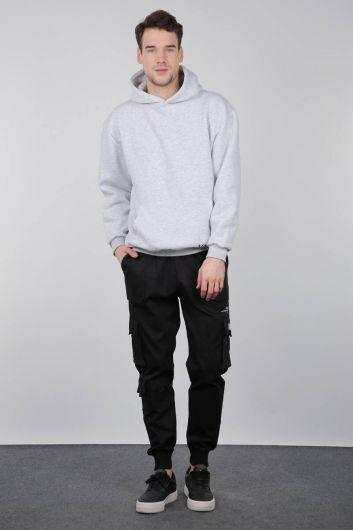 Черные мужские брюки в рубчик с карманами - Thumbnail