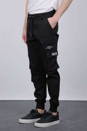 MARKAPIA - Black Ribbed Men's Trousers With Pockets (1)