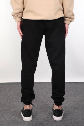 Черные спортивные штаны Эластичные мужские спортивные штаны с аппликацией - Thumbnail