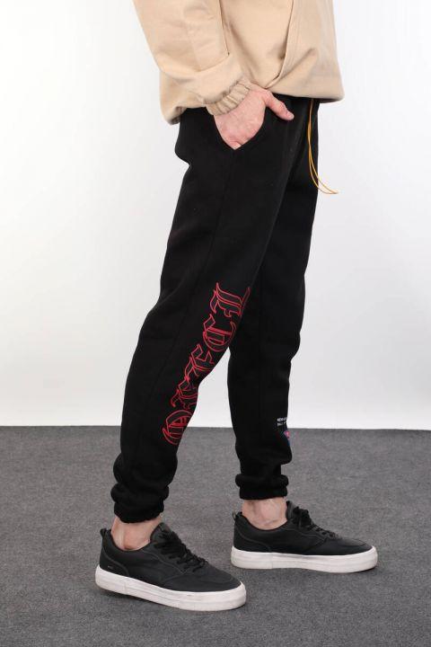Black Sweatpants Appliqued Elastic Men's Sweatpants