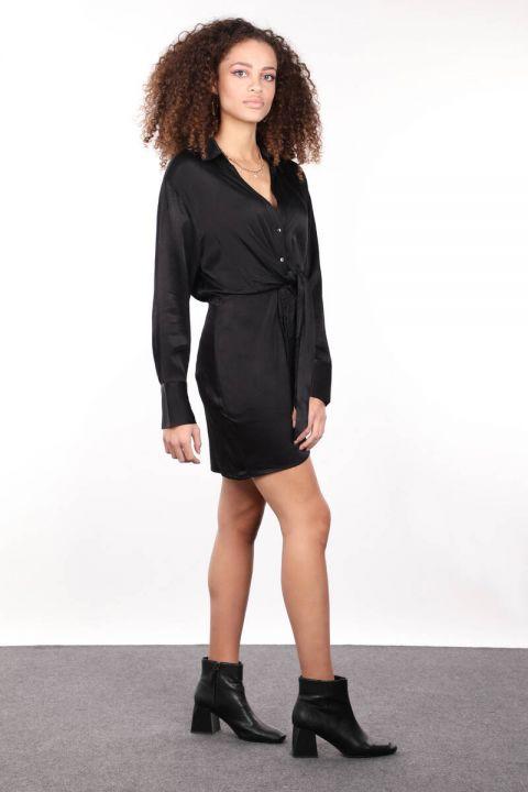 فستان قميص نسائي من الساتان الأسود