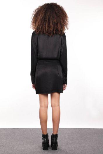 فستان قميص نسائي من الساتان الأسود - Thumbnail