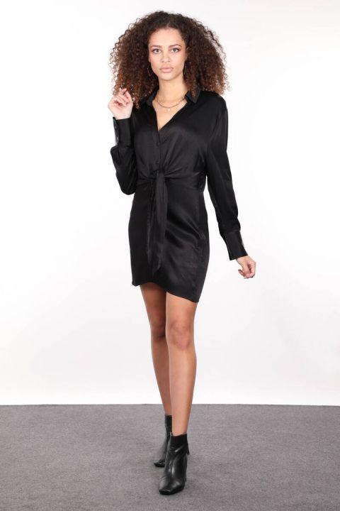 Черное атласное женское платье-рубашка