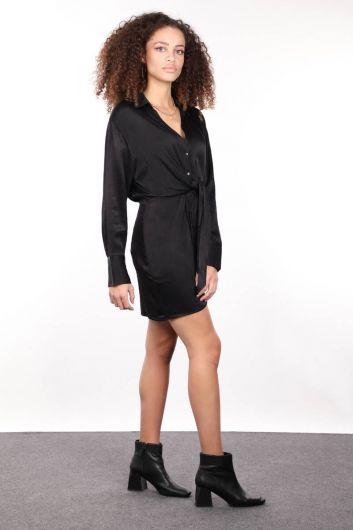 Черное атласное женское платье-рубашка - Thumbnail