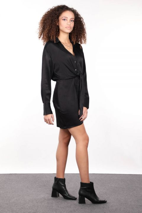 Black Satin Women's Shirt Dress