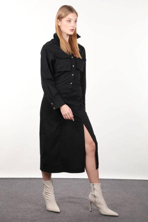 فستان نسائي أسود بفتحة جانبية