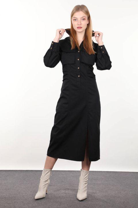 Черное женское платье со сборками сбоку