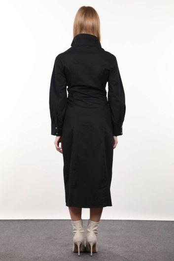 Черное женское платье со сборками сбоку - Thumbnail