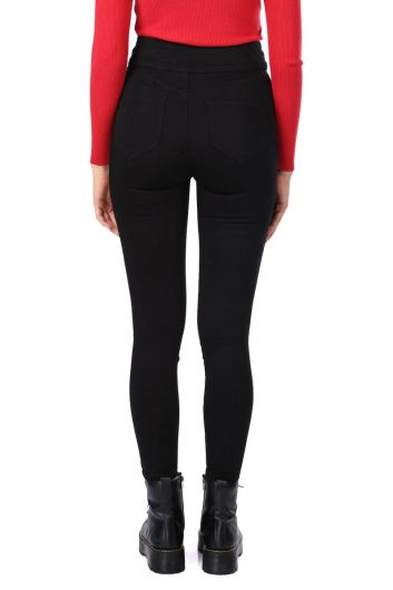 Black Super Skinny Woman Jean Trousers - Thumbnail