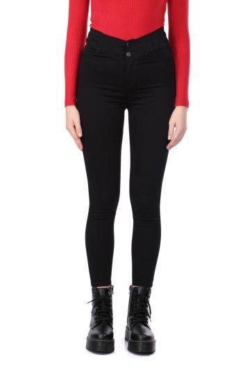 Черные джинсовые брюки Super Skinny Woman - Thumbnail