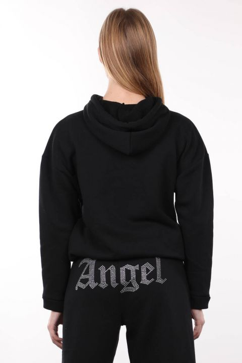 Black Stone Embroidered Hooded Women's Sweatshirt