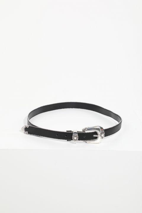 حزام جلد أسود بحجر ناعم نسائي