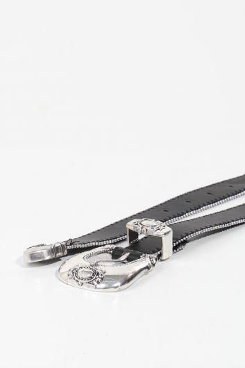 حزام جلد أسود بحجر ناعم نسائي - Thumbnail