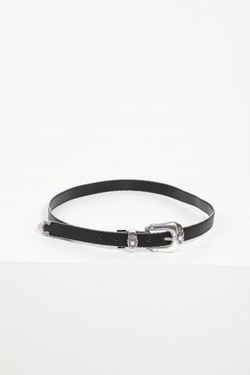 Women's Black Fine Stone Leather Belt - Thumbnail