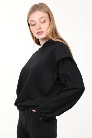 Черная женская толстовка с капюшоном с капюшоном - Thumbnail