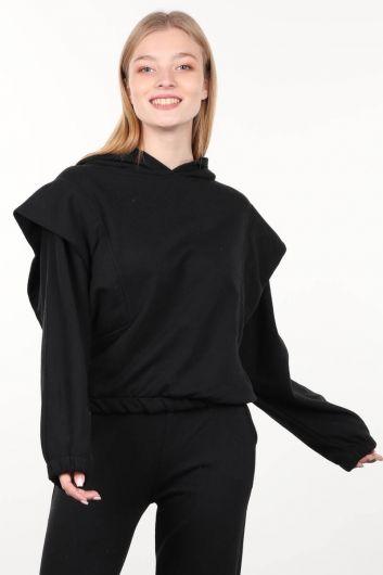 Black Wadded Hooded Women's Sweatshirt - Thumbnail