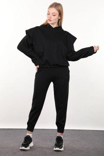 Черный спортивный костюм с капюшоном и стеганой - Thumbnail