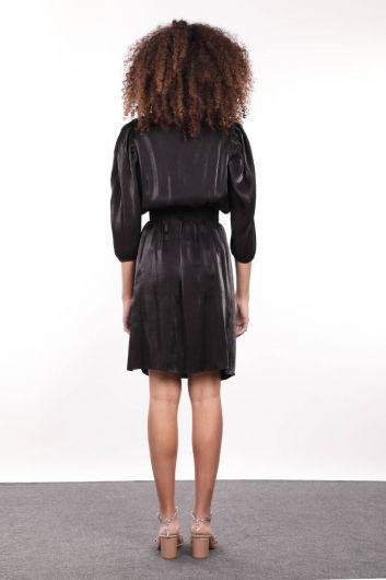 Black Elastic Waist Gathered Double Breasted Women Dress - Thumbnail