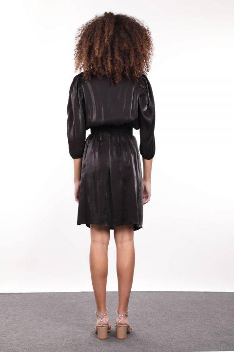 Black Elastic Waist Gathered Double Breasted Women Dress