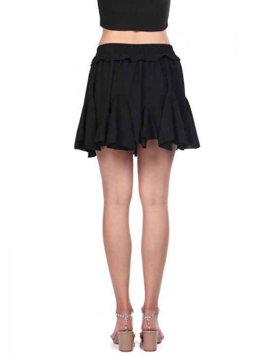تنورة ميني مكشكشة مطاطية بخصر أسود