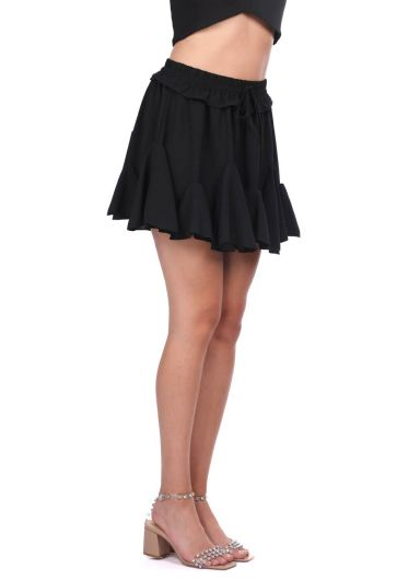 MARKAPIA WOMAN - Black Waist Elastic Ruffle Mini Skirt (1)