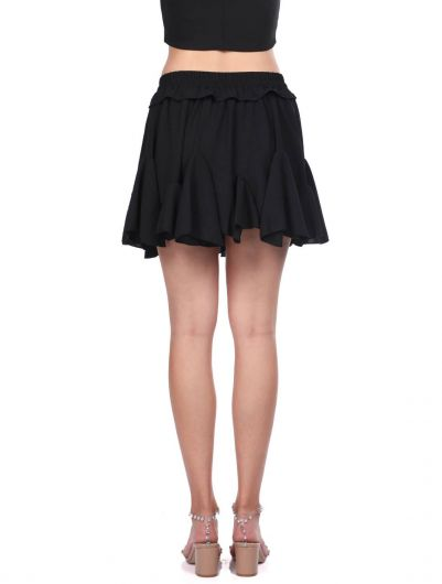 Black Waist Elastic Ruffle Mini Skirt - Thumbnail