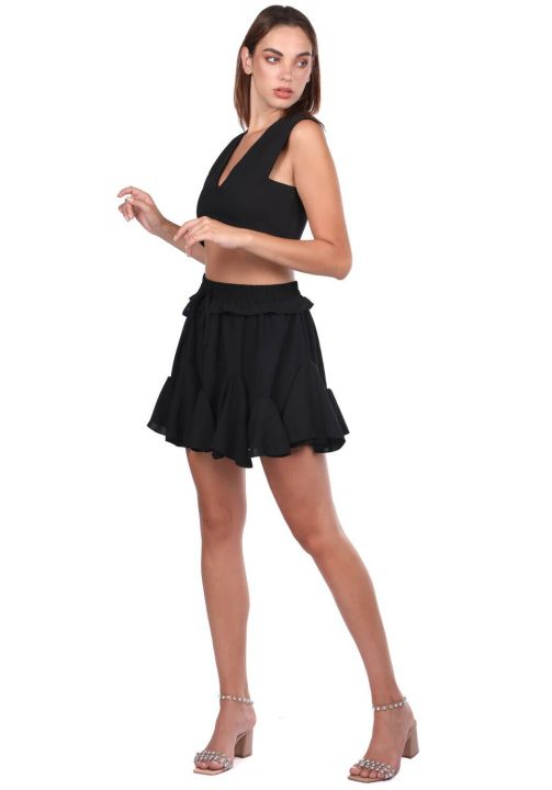 Black Waist Elastic Ruffle Mini Skirt