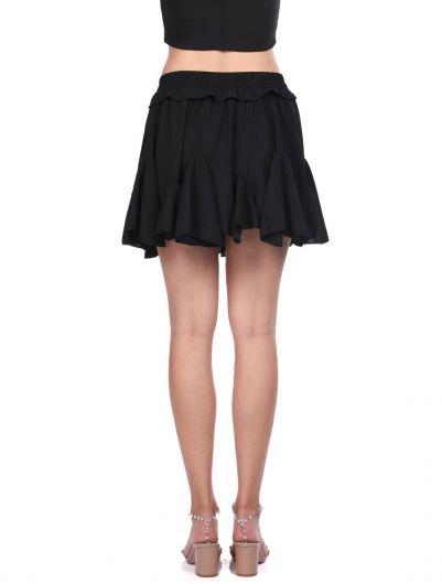 Черная мини-юбка с эластичными оборками на талии - Thumbnail