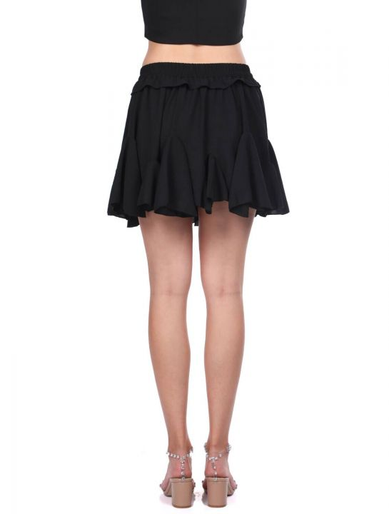 Черная мини-юбка с эластичными оборками на талии