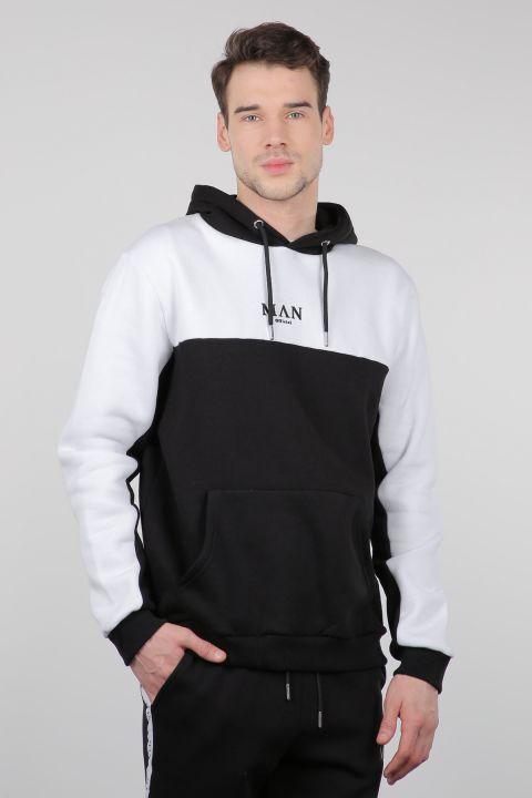 Black and White Raised Hooded Men's Sweatshirt
