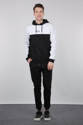 Black and White Raised Hooded Men's Sweatshirt - Thumbnail