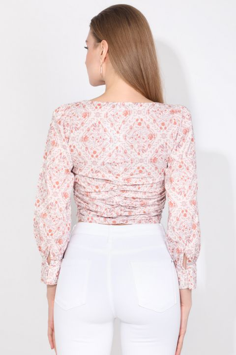 Markapia Gathered Detailed Floral Blouse