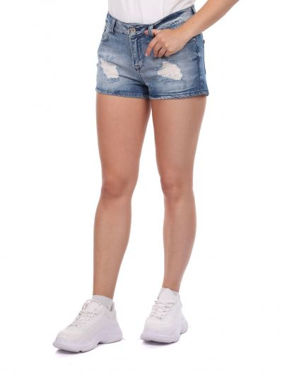 BLUE WHITE - Blue Eyes Women's Jean Shorts (1)