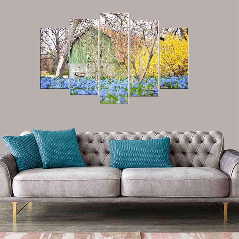 Дом с синим цветком из 5 частей Mdf Painting