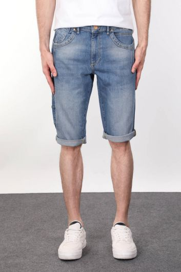 Blue Piece Back Pocket Detailed Men's Capri - Thumbnail