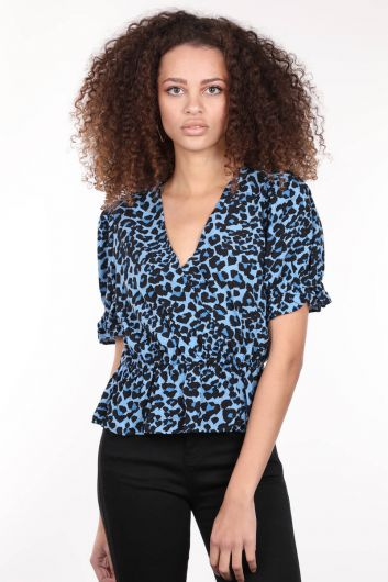 Blue Patterned Double Breasted Collar Elastic Waistband Women's Blouse - Thumbnail